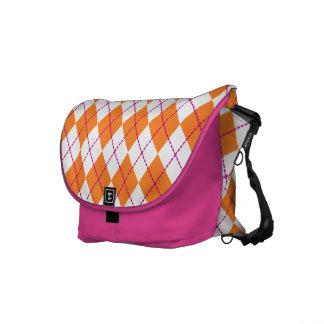 Orange Argyle Messenger Bag