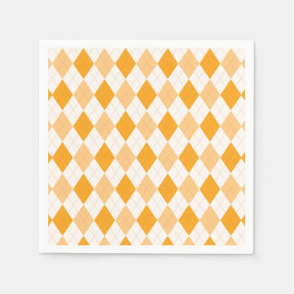 Orange Argyle Paper Napkins