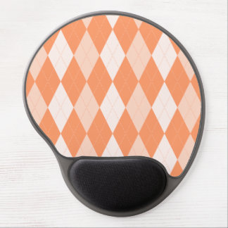 Orange Argyle Pastel Tangerine Small Diamond Shape Gel Mouse Pad