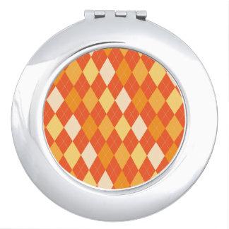 Orange argyle pattern compact mirror