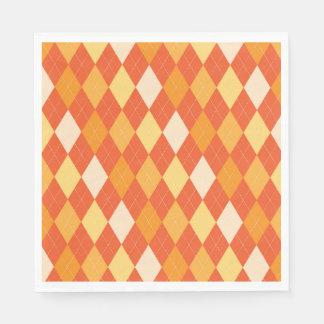 Orange argyle pattern disposable napkin