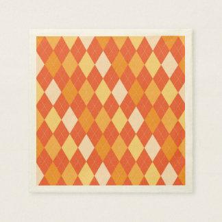 Orange argyle pattern disposable serviettes