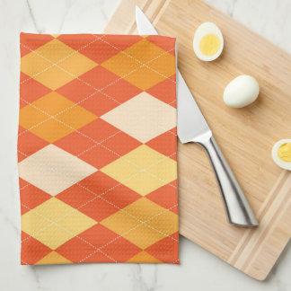 Orange argyle pattern hand towels