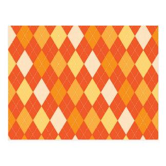 Orange argyle pattern postcard