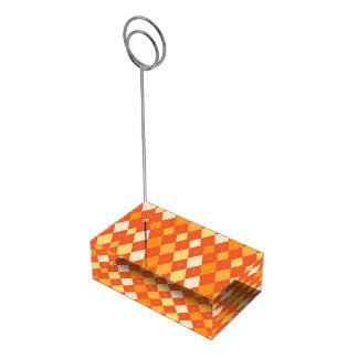 Orange argyle pattern table card holder