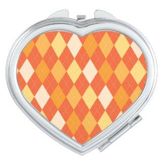 Orange argyle pattern travel mirror
