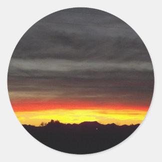 Orange Arizona Sunset Round Sticker