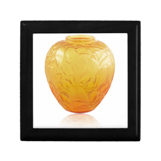 Orange Art Deco glass vase with bird design. Gift Box