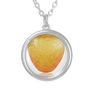 Orange Art Deco glass vase with bird design. Silver Plated Necklace