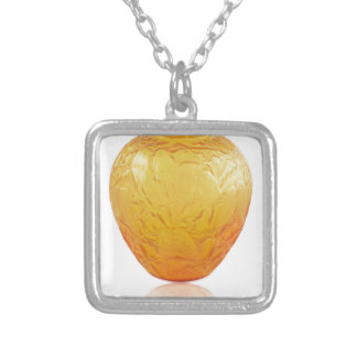 Orange Art Deco glass vase with bird design. Silver Plated Necklace
