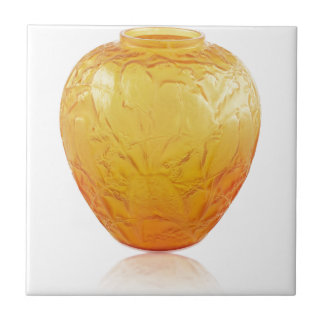 Orange Art Deco glass vase with bird design. Tile