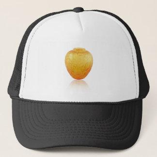 Orange Art Deco glass vase with bird design. Trucker Hat