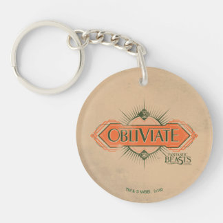 Orange Art Deco Obliviate Spell Graphic Double-Sided Round Acrylic Key Ring