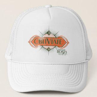 Orange Art Deco Obliviate Spell Graphic Trucker Hat
