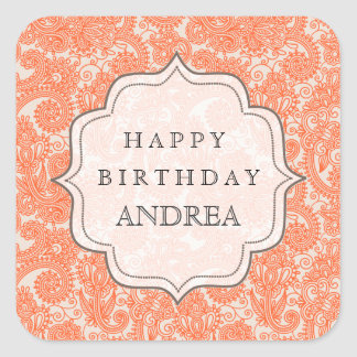 Orange Autumn Birthday Dessert Table Tag Label Stickers
