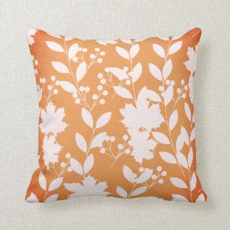 Orange Autumn Floral Flower Leaves Fall Holly Cushion