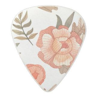 Orange Autumn hand drawn batik flower pattern Acetal Guitar Pick
