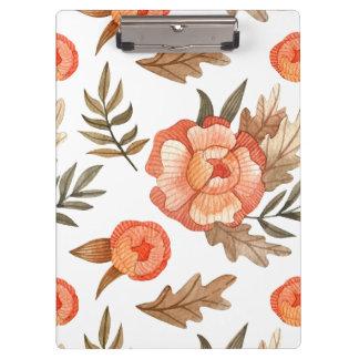 Orange Autumn hand drawn batik flower pattern Clipboard