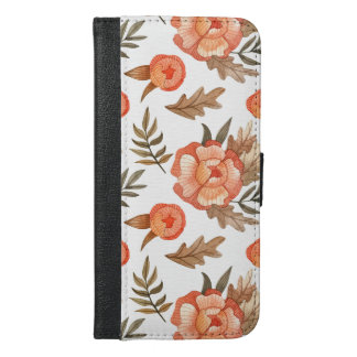 Orange Autumn hand drawn batik flower pattern iPhone 6/6s Plus Wallet Case