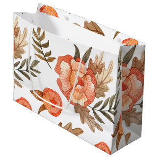 Orange Autumn hand drawn batik flower pattern Large Gift Bag