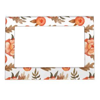 Orange Autumn hand drawn batik flower pattern Magnetic Picture Frame