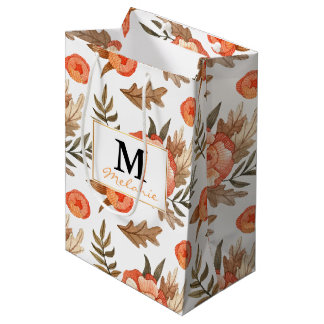 Orange Autumn hand drawn batik flower pattern Medium Gift Bag
