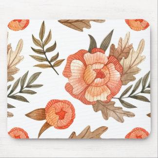 Orange Autumn hand drawn batik flower pattern Mouse Pad