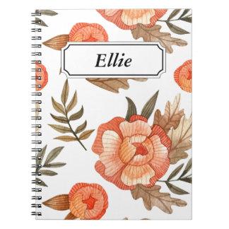 Orange Autumn hand drawn batik flower pattern Notebooks