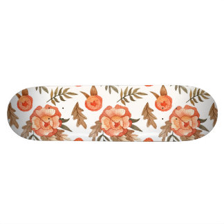 Orange Autumn hand drawn batik flower pattern Skateboard Deck