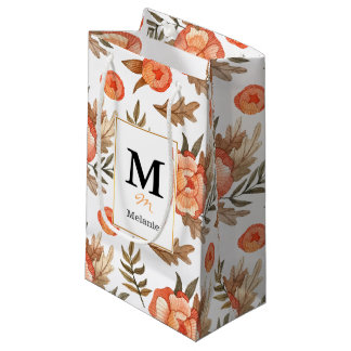 Orange Autumn hand drawn batik flower pattern Small Gift Bag
