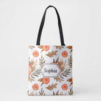 Orange Autumn hand drawn batik flower pattern Tote Bag