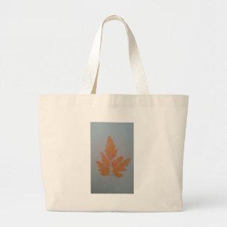 Orange Autumn Leaf Canvas Bags