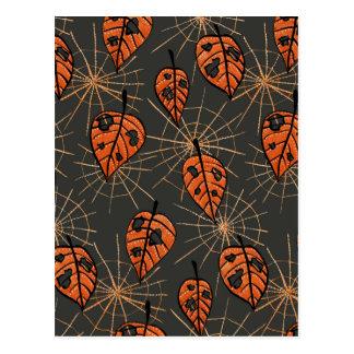 Orange Autumn Leaves And Spiderwebs Pattern Postcard