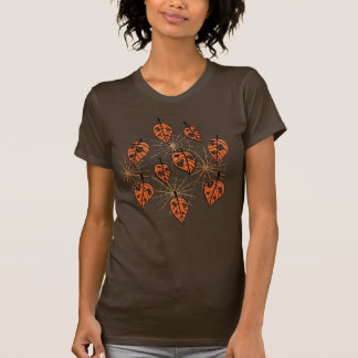 Orange Autumn Leaves And Spiderwebs Pattern T-Shirt