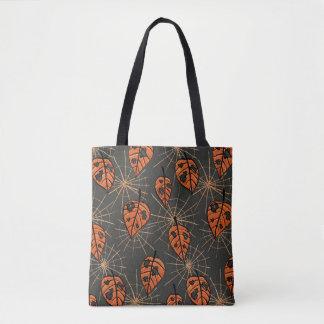 Orange Autumn Leaves And Spiderwebs Pattern Tote Bag