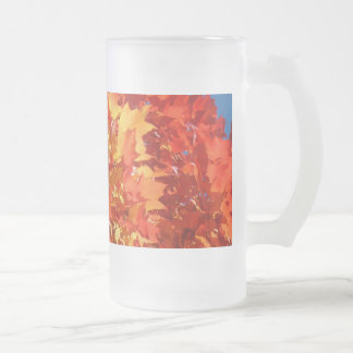 Orange Autumn Leaves Frosted Glass Mugs