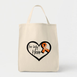 Orange Awareness Ribbon For My Hero Grocery Tote Bag