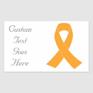 Orange Awareness Ribbon - Leukaemia, MS Rectangular Sticker