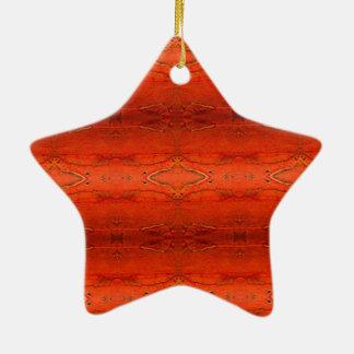 Orange Aztec Pattern Ceramic Star Decoration