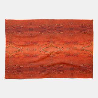 Orange Aztec Pattern Tea Towel