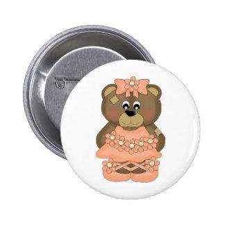 Orange Ballerina Bear Button