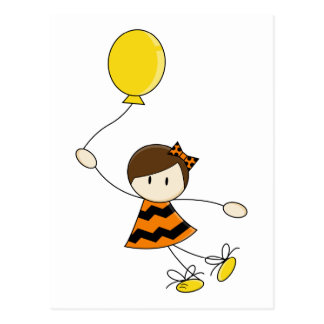 Orange Balloon Girl Postcard