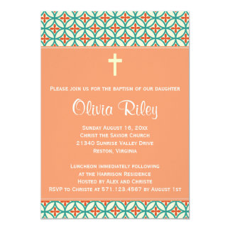 Orange Baptism/Christening Invite