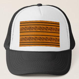 Orange barbwire trucker hat