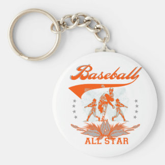 Orange Baseball All Star Tshirts and Gifts Basic Round Button Key Ring