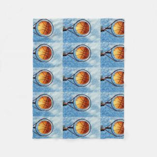 Orange Basketball And Hoop, Fleece Blanket