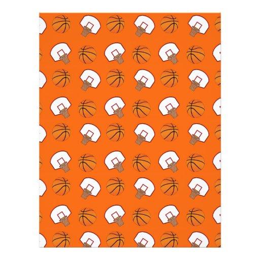 Orange basketballs and nets pattern flyer design