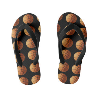 Orange Basketballs On Black Background, Kid's Thongs
