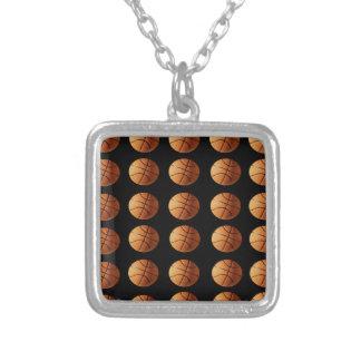 Orange_Basketballs_On_Black,_ Silver Plated Necklace