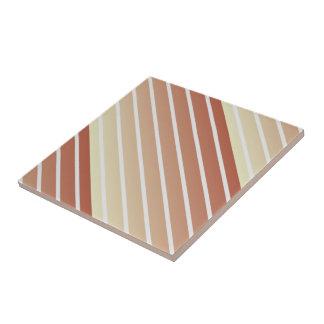 Orange Beige Vintage Stripes Ceramic Tile